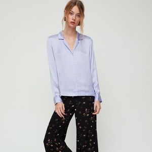 NWT Aritzia Wilfred Peaufiner Blouse In Soft Lilac
